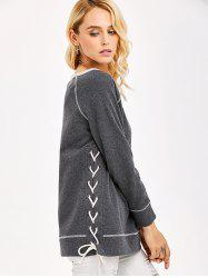 Lace-Up Side Topstitch Sweatshirt -