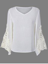 Flare Sleeve Lace Insert Hollow Out Blouse