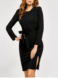 Bow Belt Slit Sheath Dress