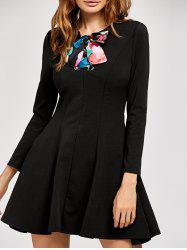 Long Sleeve Bow A Line Dress