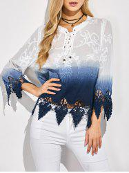 Ombre Embroidered Lace Spliced Blouse -