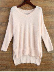 Long V Neck Fluffy Basic Sweater -