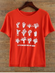 Round Neck Plant Print T Shirt - RED 2XL