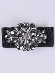 Faux Crystal Elastic Extra Wide Belt - BLACK