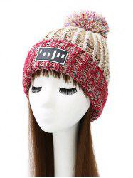 Pom Ball Stripy Flanging Knitted Beanie - BEIGE
