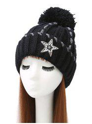 Pom Ball Star Rhinestone Knitted Beanie -