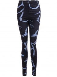 Printed Stretchy Slimming Leggings - BLACK