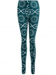 Geometric Print Slimming Leggings - BLACKISH GREEN XL
