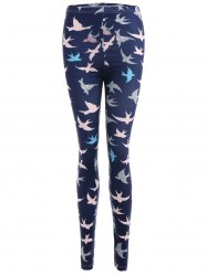 Abstract Bird Print Stretchy Leggings