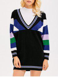 Plunging Neck Contrast Striped Dress -