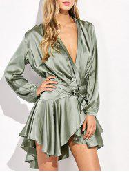 Plunging Neck Asymmetrical Satin Dress - SAGE GREEN