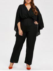 Chiffon Capelet Surplice Plus Size V Neck Jumpsuit