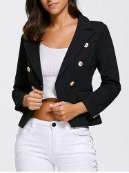 Double Breasted Slimming Short Blazer - BLACK L