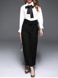 Pussy Bow Tie Collar Blouse - WHITE XL