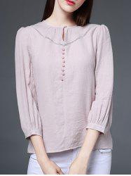 Openwork Beaded Blouse - NUDE PINK 2XL
