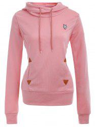 Pocket Patched Pullover Hoodie - PINK L