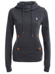 Pocket Patched Pullover Hoodie - DEEP GRAY L