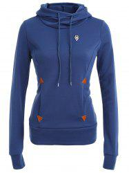 Pocket Patched Pullover Hoodie - DEEP BLUE