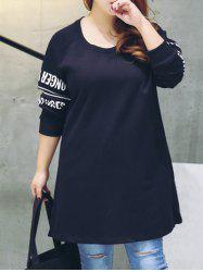 Plus Size Furcal Letter Long Sweatshirt - BLACK