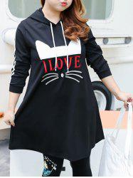 Plus Size Love Cat Pattern Hooded Dress -