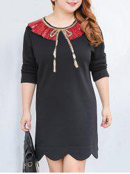 Plus Size Sequined Mini Fleece Scalloped Dress