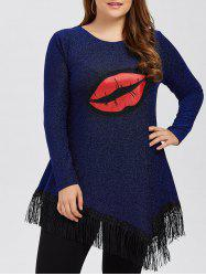 Big Lip Patched Tassel Lurex T-Shirt -