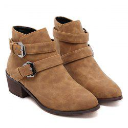 Double Buckle Ankle Vintage Boots - LIGHT BROWN
