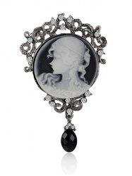 Round Beauty Head Drop Antique Cameo Brooch Pin -