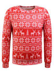 Crew Neck Christmas Snowflake Print Long Sleeve Flocking Sweatshirt