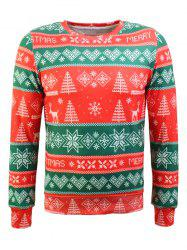 Crew Neck Christmas Tree and Snowflake Print Long Sleeve Flocking Sweatshirt - RED AND GREEN