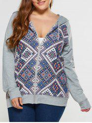 Plus Size Print Trim Hoodie - LIGHT GRAY