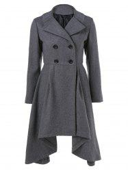 Double-Breasted Asymmetrical Woolen Coat - GRAY