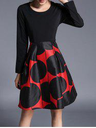 Polka Dot Long Sleeves Flare Dress