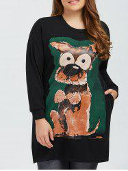 Drop Shoulder Printed Pullover Sweatshirt - BLACK