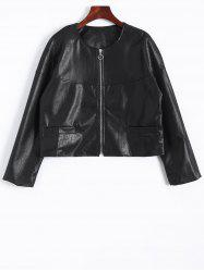 Zip Up Faux Leather Plus Size Jacket -