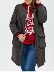 Printed Zip Up Color Block Plus Size Coat