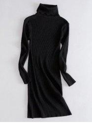 Turtleneck Ribbed Long Sleeve Knit Dress