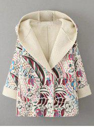 Hooded Wrap Tribal Print Long Suede Coat - OFF-WHITE L
