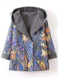 Hooded Wrap Tribal Print Long Suede Coat - BLUE
