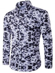 Camouflage Pattern Turndown Collar Long Sleeve Shirt