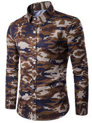 Camouflage Print Turndown Collar Long Sleeve Shirt - COFFEE M
