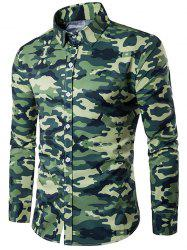 Camouflage Print Turndown Collar Long Sleeve Shirt - BLACKISH GREEN M