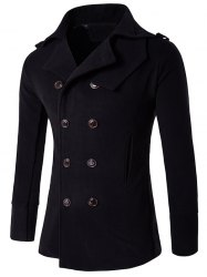 Stand Collar Double Breasted Epaulet Wool Coat - BLACK