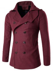 Stand Collar Double Breasted Epaulet Wool Coat -