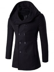 Hooded Double Breasted Back Slit Wool Coat - BLACK