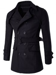 Double Breasted Belt Epaulet Design Turndown Collar Wool Coat
