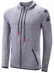Pocket Embellished Zip Up Hoodie -