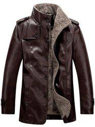 Stand Collar Flocking Single Breasted PU-Leather Jacket - COFFEE 4XL