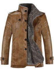 Stand Collar Flocking Single Breasted PU-Leather Jacket - KHAKI