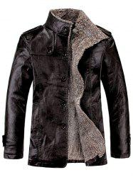 Stand Collar Flocking Single Breasted PU-Leather Jacket - BLACK